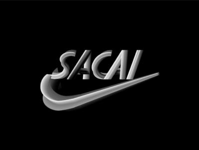 Nike x Sacai Logo branding type design type hype sneakers sacai nike 3d vector design typography illustration minimal graphic  design