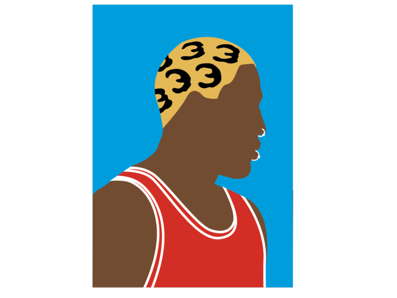 Dennis Rodman - Portrait chicago bulls michael jordan basketball portrait minimal flat illustration graphic  design vector