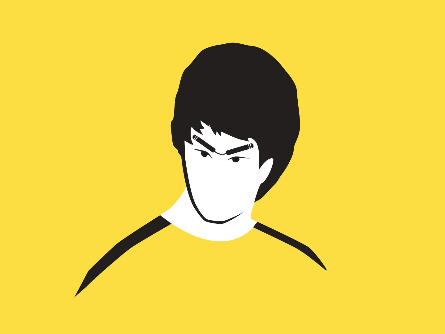 Bruce Lee - Portrait illustration minimal faces vector clean portrait flat graphic  design character 2d