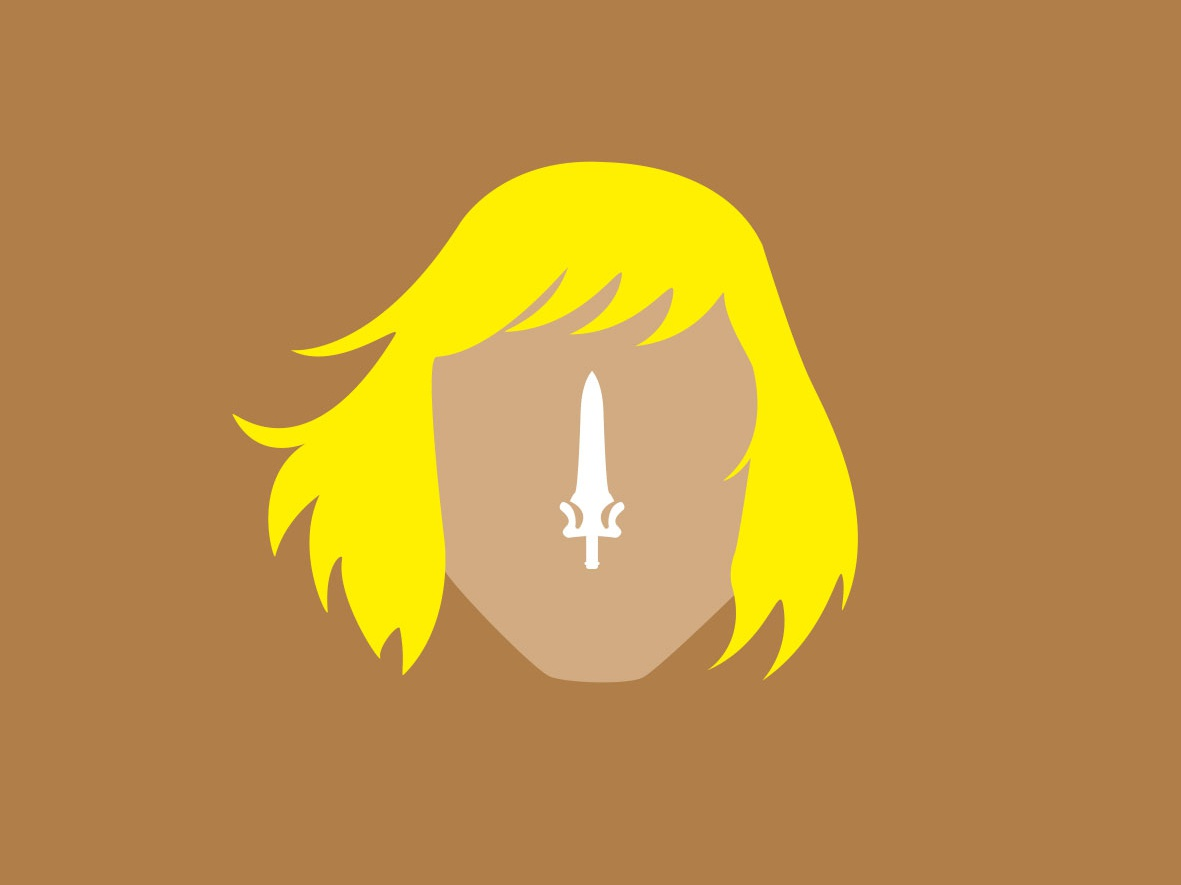 Masters of the Universe - HeMan heroes icon yellow sword design portrait minimal graphic  design flat faces clean 2d character vector illustration