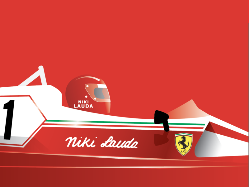 Niki Lauda - RIP vectors red car formula1 sports design illustration graphic  design flat 2d minimal vector
