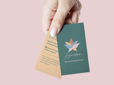 Business Cards for a Healer / Massage Therapist mockup business card brand identity