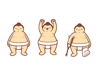 Sumo game character vector outline clean cute illustration design character game