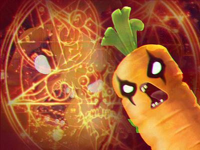 Satanic Carrot Anyone? character illustration scream doom pentagram evil carrot satanic