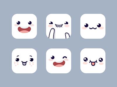 Cute iOS Icons anime chibi clean flat character app emoji smiley smile ios icon cute