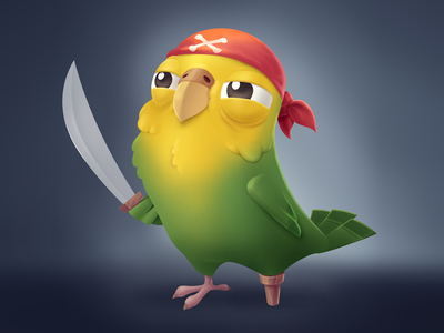 Pirate Parrot mad bird sword game clean character cute pirate parrot