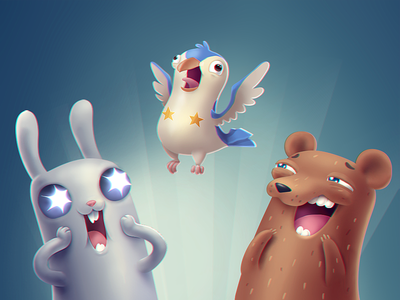 When you really excited about something game happy excited clean cure character bear rabbit bunny
