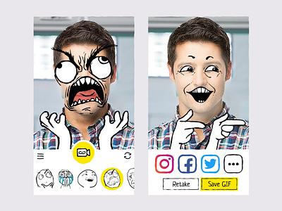 Memes App drawing ui draw cute rage face selfie ios app gif meme