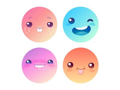 Default Random Avatars face emoji smile avatar icon character cute