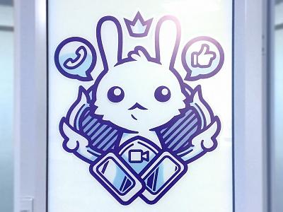 Coat of Arms Door Print flat clean vector logo hire bunny print coat of arms