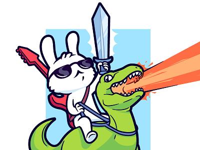 Serious Bunny cute dinosaur vector character rock guitar laser raptor rabbit bunny sword