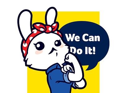 Motivational Bunny rabbit character cute clean vector poster retro bunny motivational