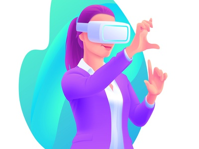 VR Headset Illustration reality augmented gesture girl woman business illustration headset vr