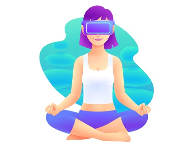 VR Headset Illustration 2 woman vr reality illustration headset girl gesture business augmented