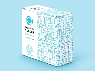 Package design for soldering kit illustration technical drawing vector clean package design