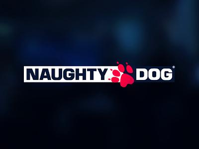 Naughty Dog (redesign) rebranding red naughty dog video game blue logo design