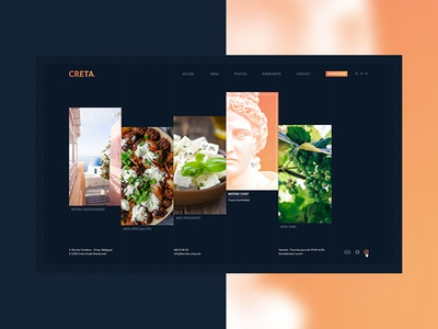 Creta | Greek Restaurant rebranding blue orange restaurant greek greece logo typography design website webdesign ux-ui
