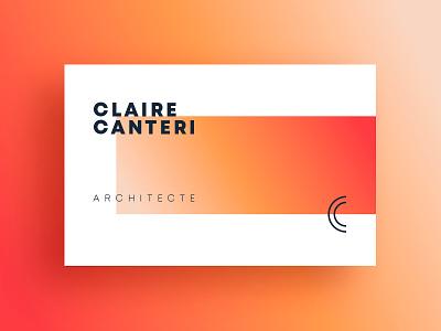 Claire Canteri Architecte dark blue logo gradient monogram logo identity design business card orange red coral minimal design architect