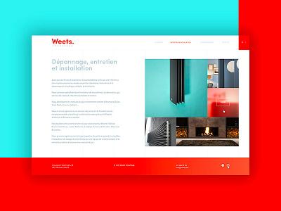 Weets | Heating engineer flame minimal heating turquoise rebranding ui typography ux-ui webdesign red logo design