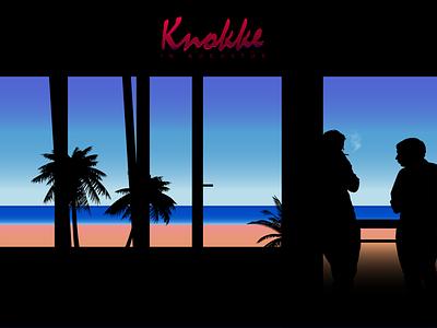 Knokke Heist minimalism window beach gradient light sky summer sea black blue vector typography illustration design