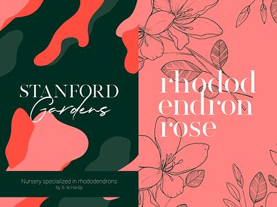 Stanford Gardens | Rhododendrons nursery flowers shape green pink illustration rebranding design typography logo branding