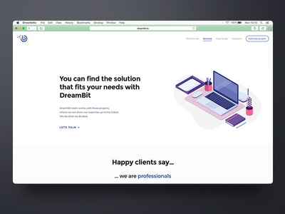 Hello Dribbble! clean minimal illustration web design agency landing page landing shot first dribbble debut