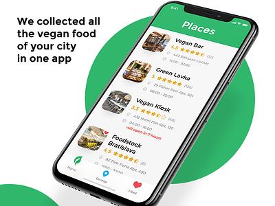 Vegaholic bar restaurant food vegan mobile ui ux flat clean app android ios