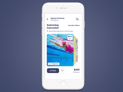 Klassky sport mobile ui ux flat clean app android ios