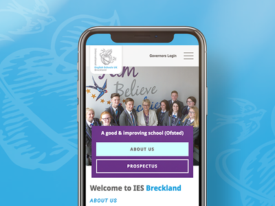 IES Breckland School Website on Mobile
