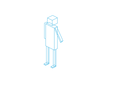 Human text drawing isometric person experiment