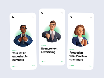 Onboarding For Caller ux ui green design app clean illustration 3d iphone mobile