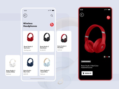 Beat Shop user experience rebound ux transition ui mockup app beats by dre by dre mobile beats