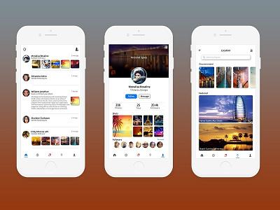 Vacation App White luxury places adventure adventurer explorers vacation social app interface app