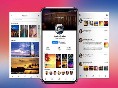 Exploerer App social app mockup design hireme user experience rebound interface ux dribble