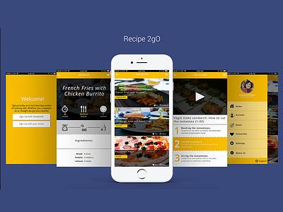 Recipe 2go mockup rebound hireme interface uidesign social food restaurant ios app ux recipe