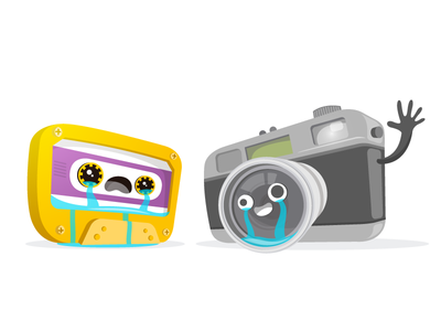 Weeping objects characters app crying weeping cassette camera graphic wallapop flat vector illustration