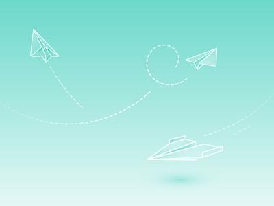 Paper planes atmosphere shadow line illustration design vector planes paper