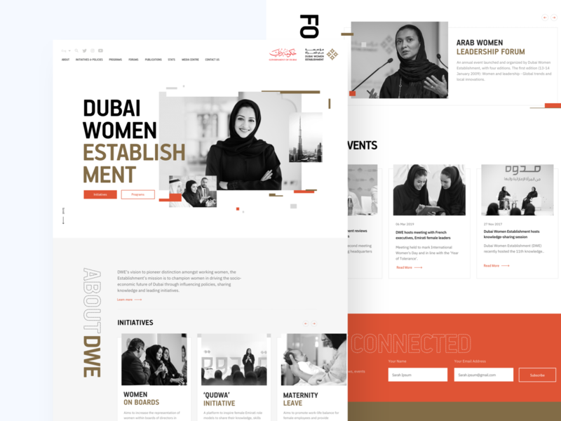 DWE : Homepage Design styleguides arabic footer hijab website design web pages web interface web design ux user experience glitch minimalism design studio design