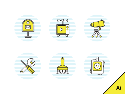 Free Basic Icons fun settings kids media play yellow download vector free line icons
