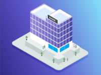 Isometric Bank Icon