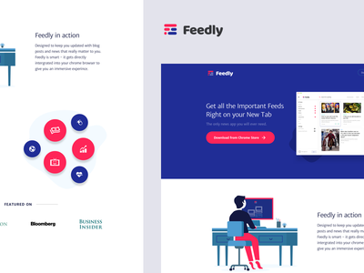 Lander for Feedly feedly chrome extension feed blue colors website lander