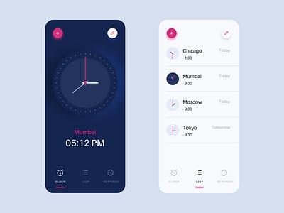 World Clock Dark And Clock List timer ios 7 design clockwork interaction sale blue freebie iphone app minimal time mobile app design mobile ui dark clocks