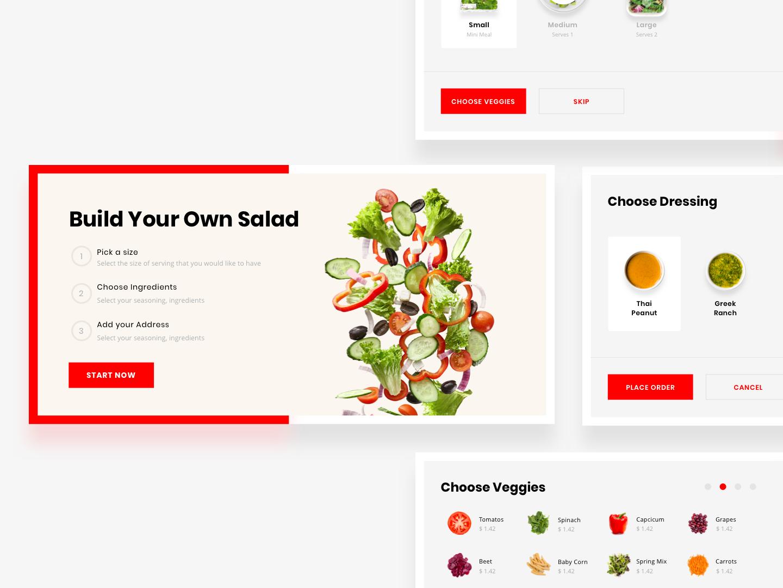 Make Your Own Salad - User Flow 🚚 vegetables webdesign ecommerce ordering user journey cards food and drink food app red order management salad food order user userflow