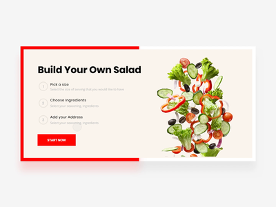 Make Your Own Salad 👨🍳 food app salad food and drink food shopping add to basket add to cart purchase checkout ecommerce order buy diy food ui interaction interactive fresh food website food