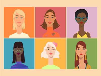 Female characters portrait shape girls design flat characters character design illustration 2d vector