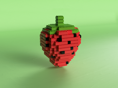 Strawberry Lego fruit colorful strawberry lego 3d houdini render art animation c4d