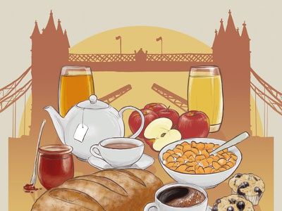 Breakfast In London illustration handdrawn vintage retro london breakfast promo poster