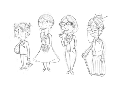 Girl growing up line drawing age growing woman girl family characters illustration wip concept sketch