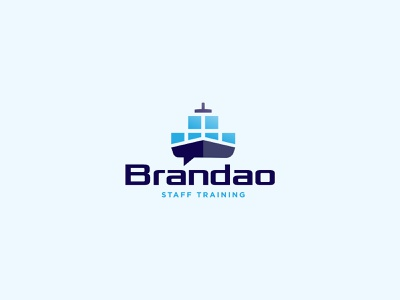 Logo for Brandao - staff training speak blue presentation design staff shipping management web vector logo icon identity minimal branding ship logo containership ships advice training containers