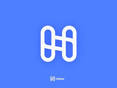 Logo for HOBEA elegant dribbble design application app minimal flat identity icon adobe illustrator typogaphy branding brandingdesign blue clean simple logo h logo h